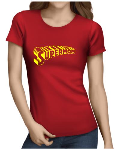 supermom 1 on ladies red shirt