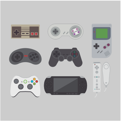 video game collection grey