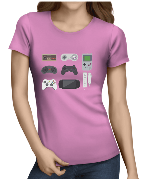 video game collection ladies light pink shirt
