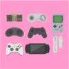 video game collection light pink