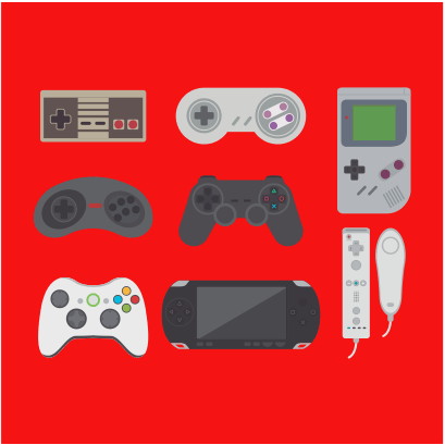 video game collection red