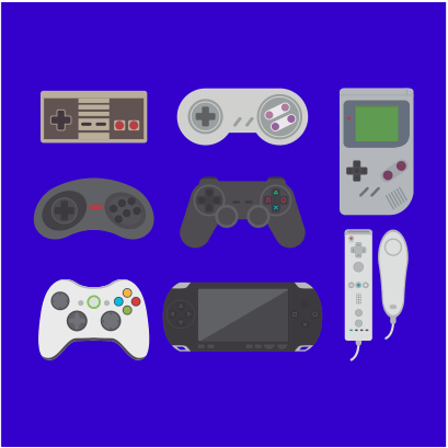 video game collection royal blue