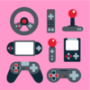 video game elements light pink