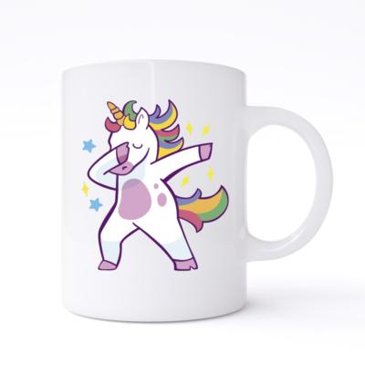 dabbing unicorn mug