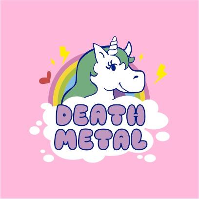 death metal unicorn light pink