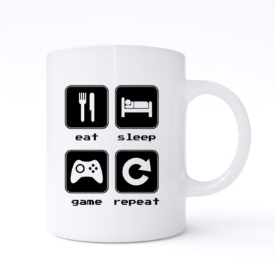 eat sleep game repeat 2 mug