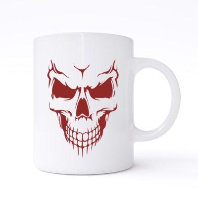 scary skull face mug