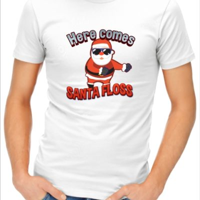 here comes santa floss red