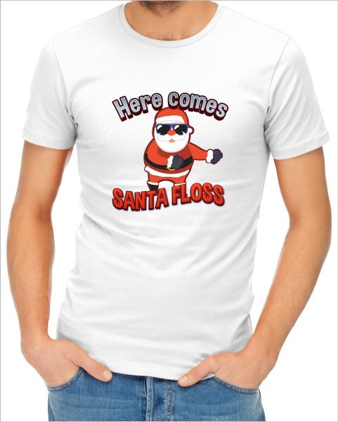 here comes santa floss mens white tshirt