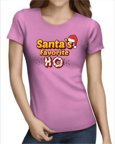 santas favorite ho ladies light pink tshirt