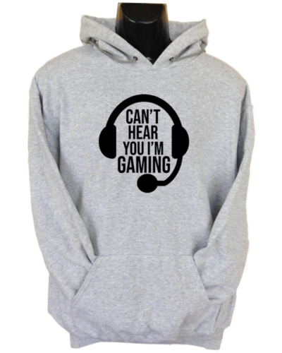 Can_t Hear you Gaming Grey Hoodie
