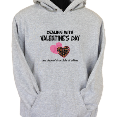 Dealing With Valentines Grey Hoodie