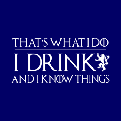 I drink and know things navy square