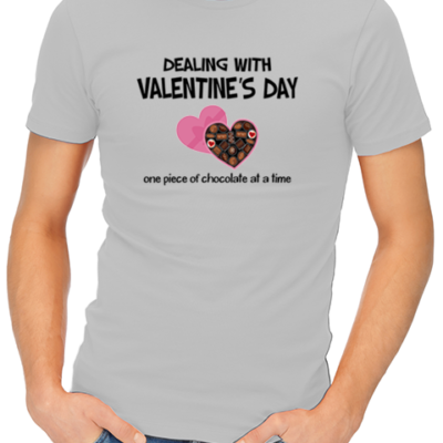 dealing with valentines mens tshirt grey