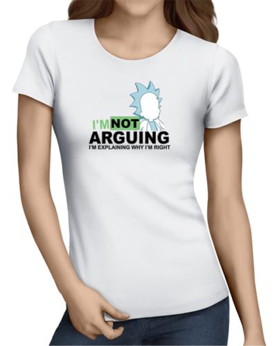 not arguing ladies tshirt white