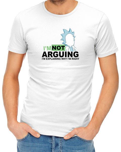 not arguing mens tshirt white