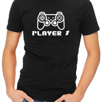 Player 1 Navy Square Mens Tshirt Black