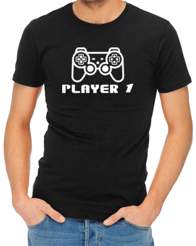 player 1 mens tshirt black