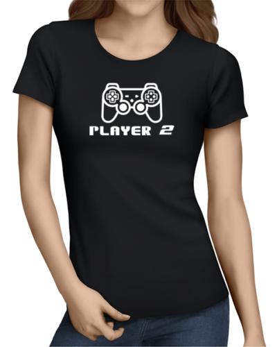 player 2 ladies tshirt black