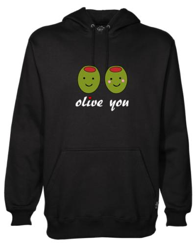 Olive you Black Hoodie