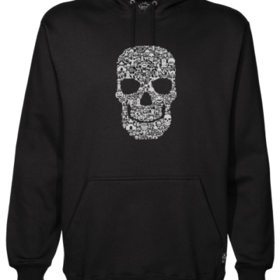 Skull Face Collage Black Hoodie
