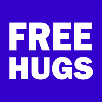 free hugs blue square