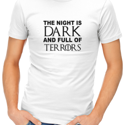 night is dark mens tshirt white