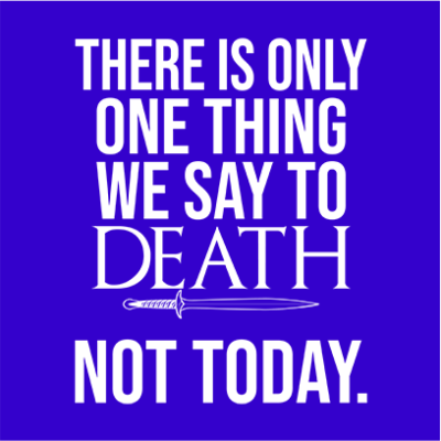 one thing we say to death blue square