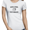 save a tree ladies tshirt white