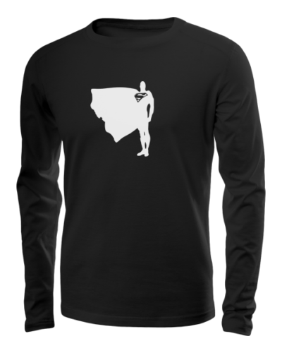 superman proud and tall long sleeve black