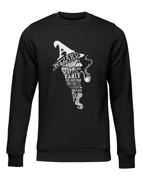a wizard is never late black sweater