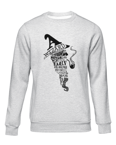 a wizard is never late grey sweater