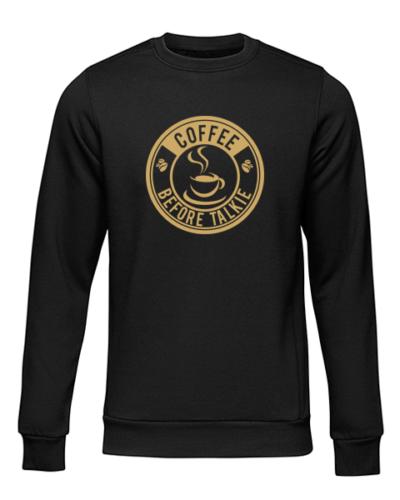 coffee before talkie logo black sweater