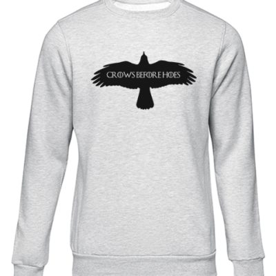 crows before hoes grey sweater