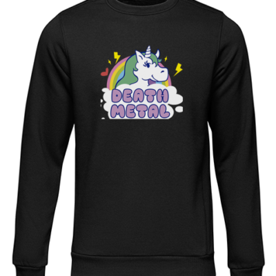 death metal unicorn black sweater