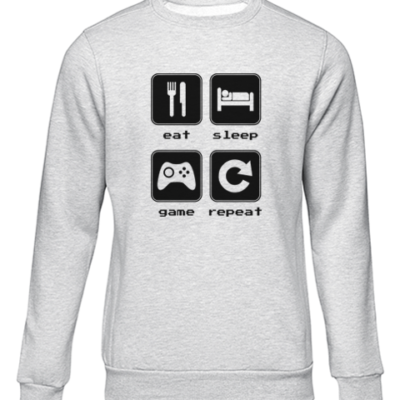 eat sleep game repeat 2 grey sweater