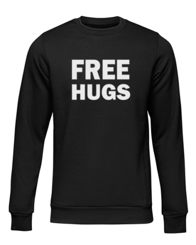 free hugs black sweater