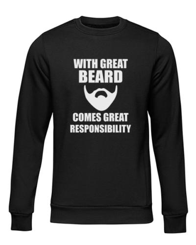 great beard black sweater