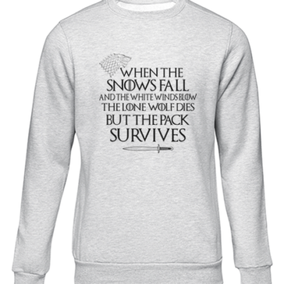 pack survives grey sweater