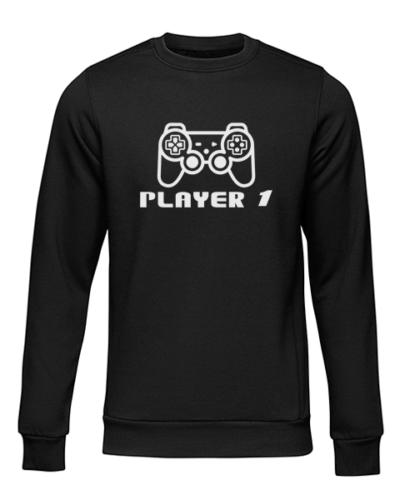 player 1 black sweater