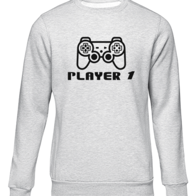 player 1 grey sweater
