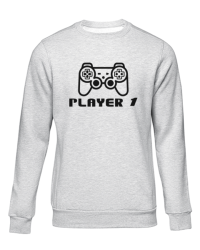 player 1 grey sweater
