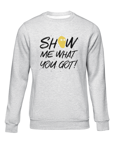 show me what you got grey sweater