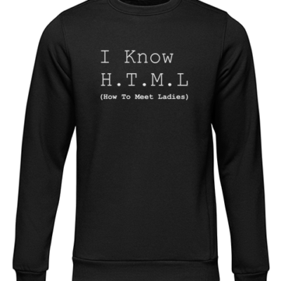 i know html black sweater