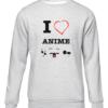 i love anime grey sweater
