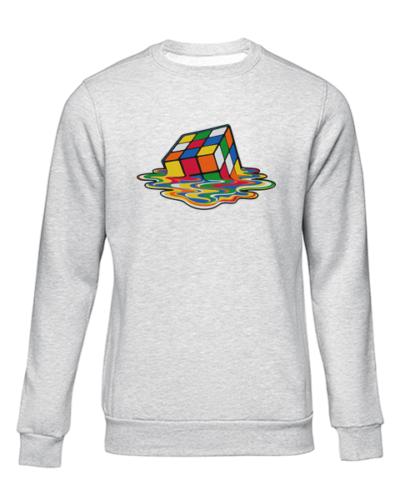 melting rubiks cube grey sweater
