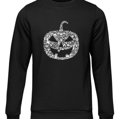 pumpkin face black sweater