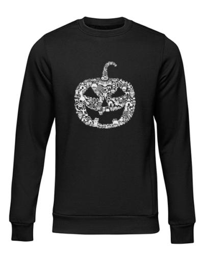 pumpkin face black sweater