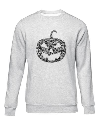pumpkin face grey sweater