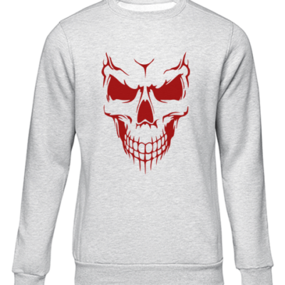 scary skull face grey sweater